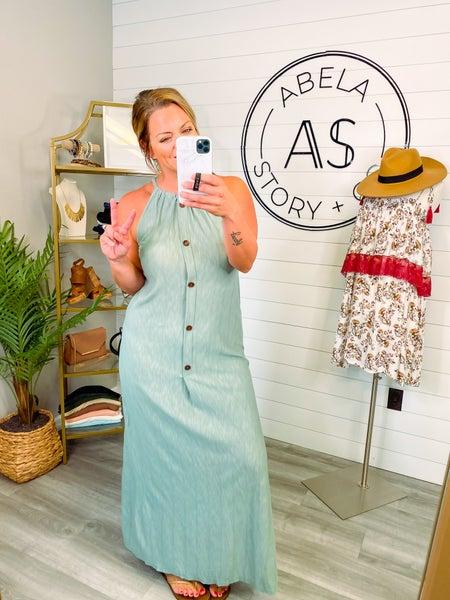 Summer Fashion Button Up Halter Maxi Dress
