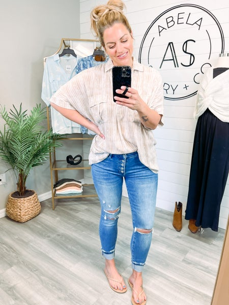 Starting Over Vervet Mid Rise Button Up Skinny Jeans