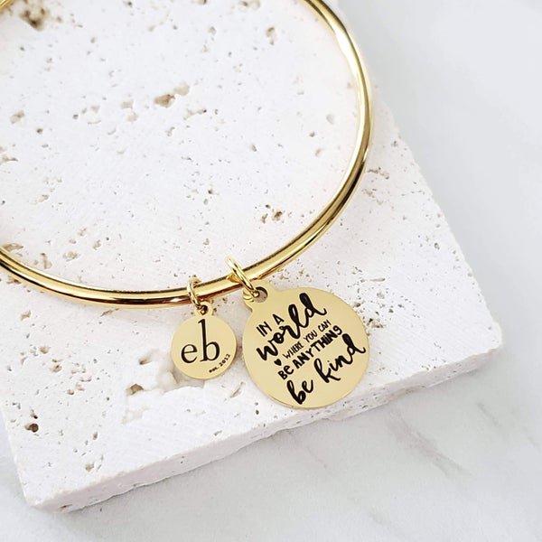 Be Kind Gold Charm Bangle