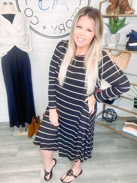 Love You Unconditionally Striped Long Sleeve Midi Dress *Final Sale*