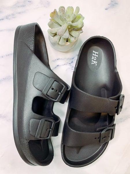 Buddy Strappy Slip On Sandals - Black