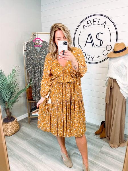 Don't Blink Floral Puff Sleeve Midi Dress - Ochre *Final Sale*
