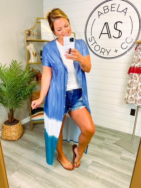 Run this Town Button Up Duster Cover Up - Blue *Final Sale*