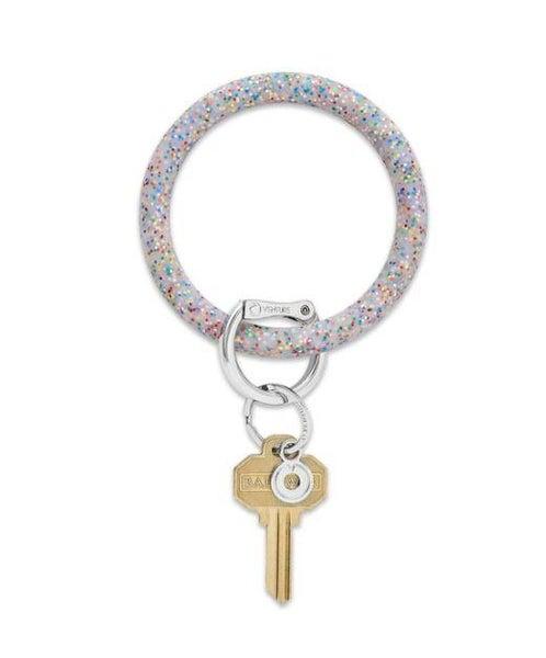 Silicone Big O Key Ring - Rainbow Confetti