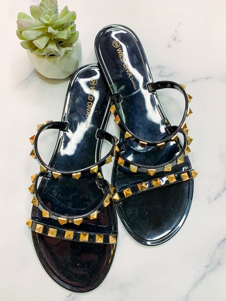 Joanie Studded Slides - Black *Final Sale*
