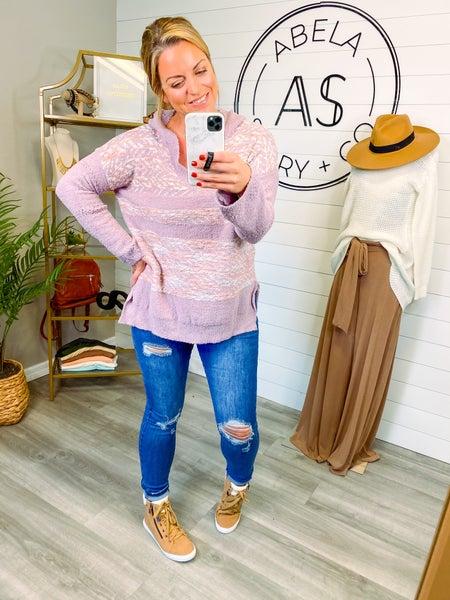 Uptown Trip Printed High Low Hoodie Sweater