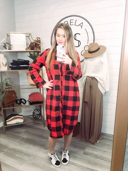 Check You Out Plaid Button Up Long Sleeve Shirt Dress - Red *Final Sale*