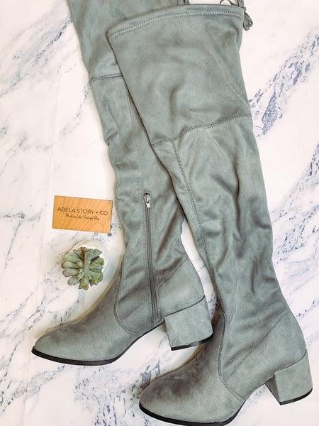 Nikki Suede Zip Up Boots - Grey *Final Sale*