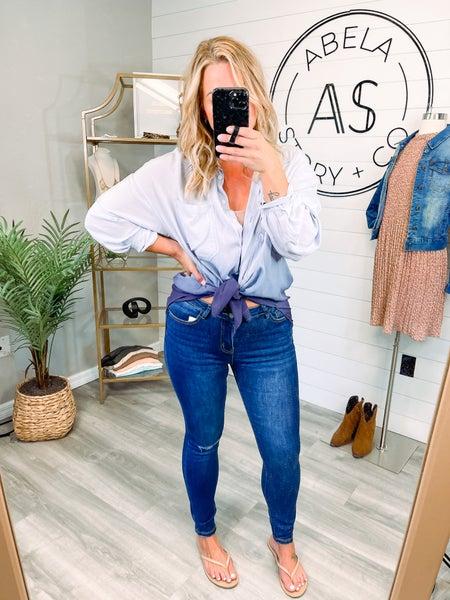 Pocket Full of Sunshine Abela High Rise Skinny Jeans - Dark Wash ZIPPER