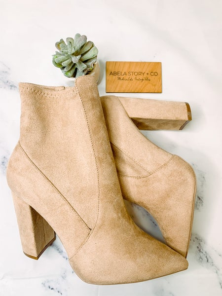 Signal Zip Up Closed Toe Booties - Taupe *Final Sale*
