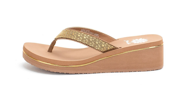 Sledge Studded Thong Wedges - Toast *Final Sale*