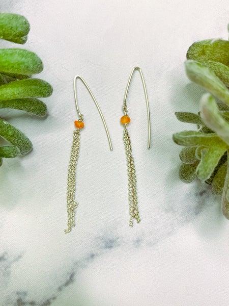 BHU18 Silver Carnelian Chain Earrings