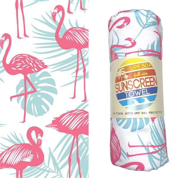 Full Size UPF 50+ Sunscreen Towel - Flamingo Palm