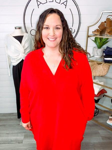 Dearest Memory Long Sleeve Solid Woven Dress - Red (Plus + Reg)