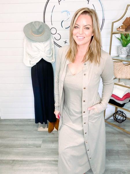Pull You Closer Midi Knit Dress and Cardigan Set - Olive