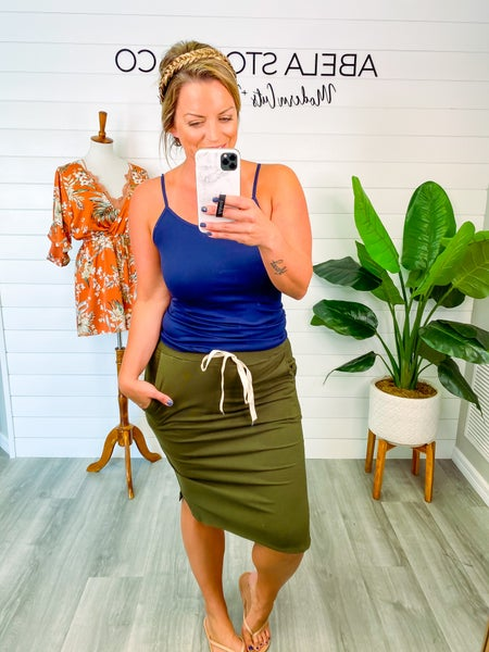 Finders Keepers Drawstring Skirt - Olive