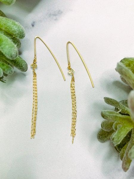 BHU18 Gold Citrine Chain Earrings