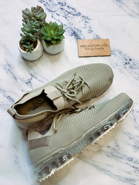 Flow Lace Up Fashion Sneakers - Beige
