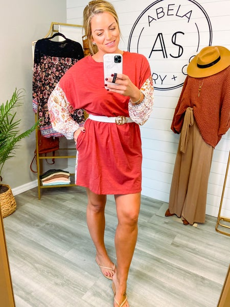 Just My Type Printed Drop Shoulder Dress - Marsala