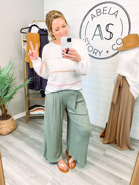 On the Down Low Wide Leg Palazzo Pants - Olive