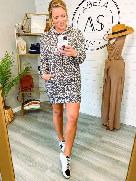 Wild About It Animal Print Hoodie Dress - Bronze *Final Sale*