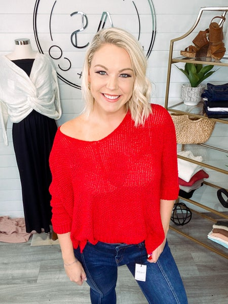 Classic Love Round Neck Loose Fit Sweater - Red (Plus + Reg)