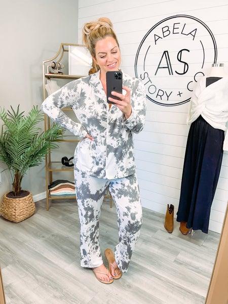 Abela Sleep Tight Pajama Set - Ivory/Grey Tie Dye