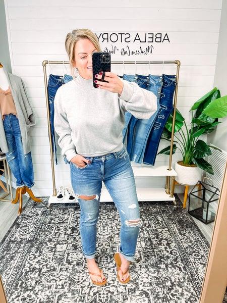 Easily Loved Vervet Super High Rise Distressed Straight Leg Jeans