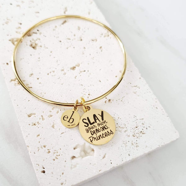 Motivational Mantra Quote Gold Charm Bangle
