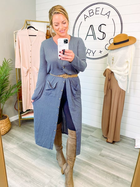 Sweet and Divine Long Open Front Cardigan - Charcoal *Final Sale*