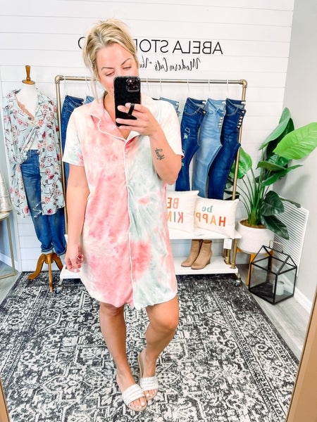 Abela Beauty Sleep PJ Dress - Sage/Mauve Tie Dye