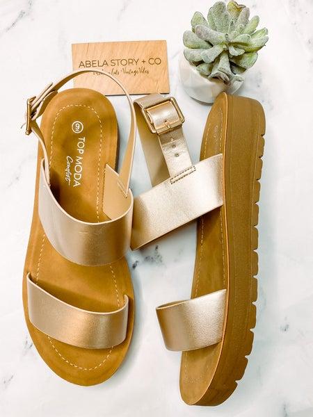 Salvia Strap Sandals-Rose Gold