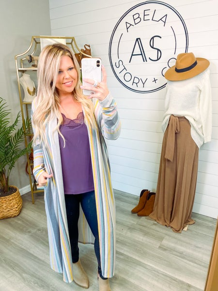 Always and Fall-ever Striped Duster Cardigan