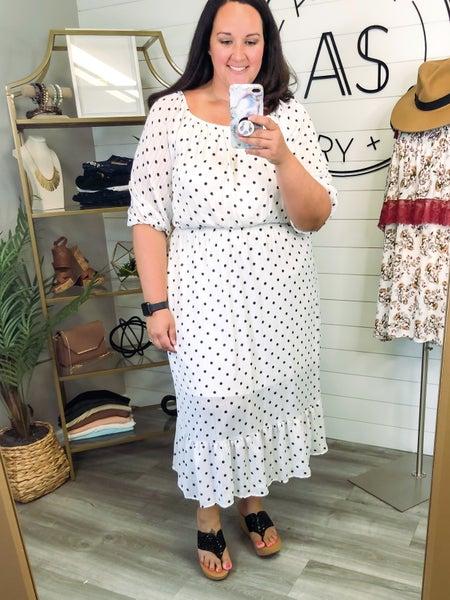 Derby Style Polka Dot Off the Shoulder Dress *Final Sale*