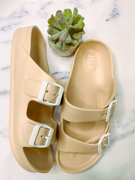Buddy Strappy Slip On Sandals - Nude *Final Sale*
