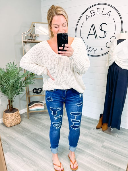 Abela Walk It Out Dark Wash Distressed Skinny Jeans