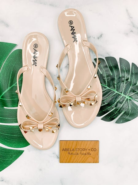 Bow and Behold Bowtie Sandals - Nude *Final Sale*