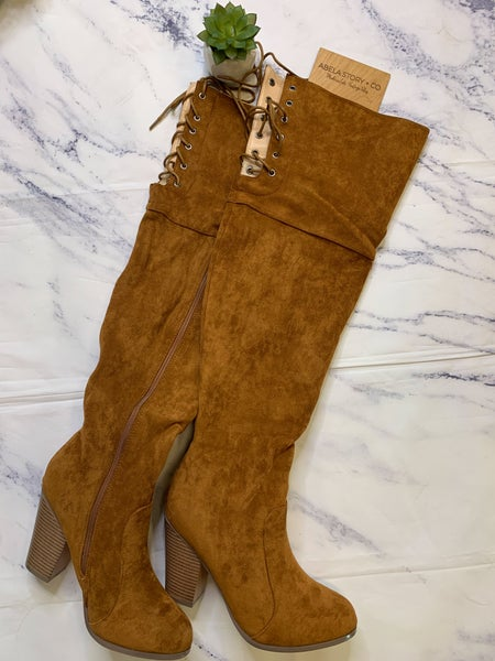 Max Chunky Heel Knee High Boots - Tan *Final Sale*