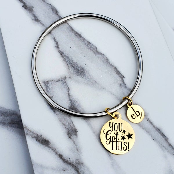 You Got This Mantra Stacking Silver Bangle