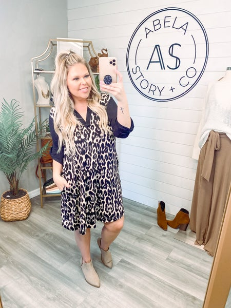 Hear Your Call Animal Print Knit Dress *Final Sale*