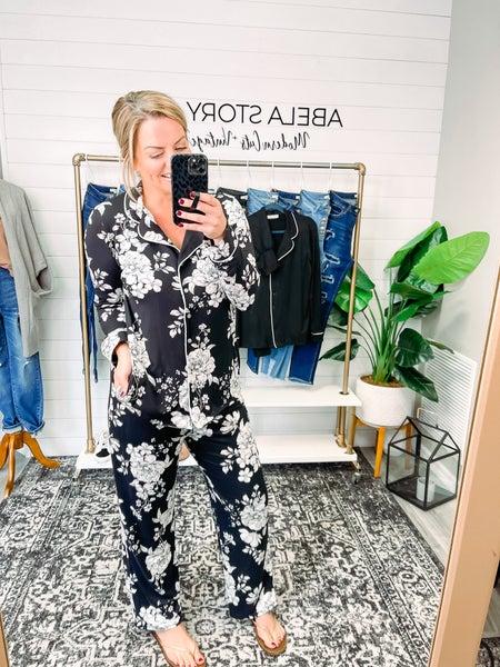 Abela Sleep Tight Pajama Set - Ivory/Black Floral