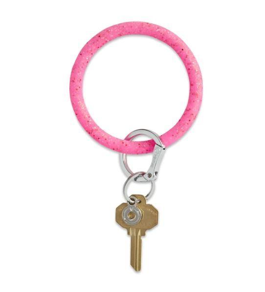 Silicone Big O Key Ring - Tickled Pink Confetti