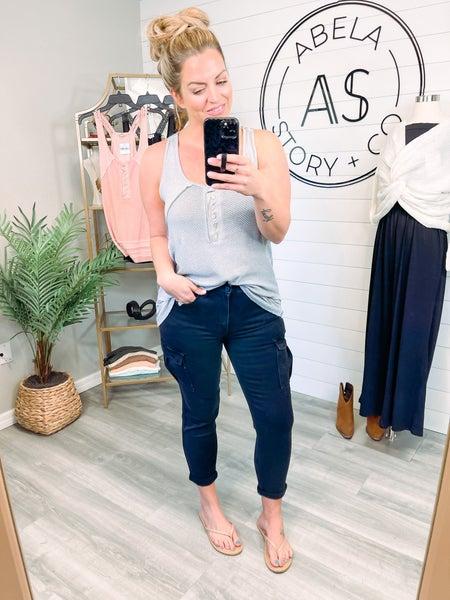 Lucky to Have You Vervet Utility Stretch Mom Jeans