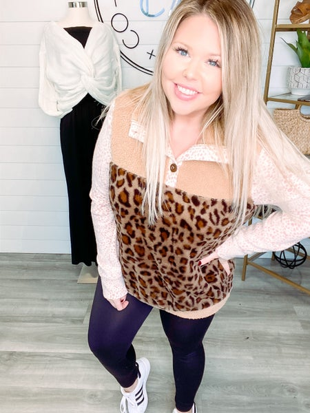 Fuzzy Feelings Animal Print Patchwork Pullover *Final Sale*