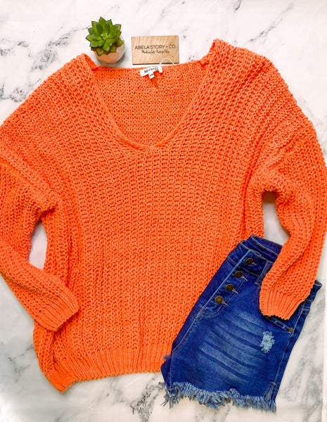 Shay Soft Chenille Cable Knit Sweater - Orange
