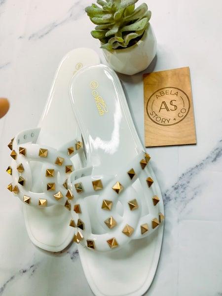 Lacma Studded Sandals - White