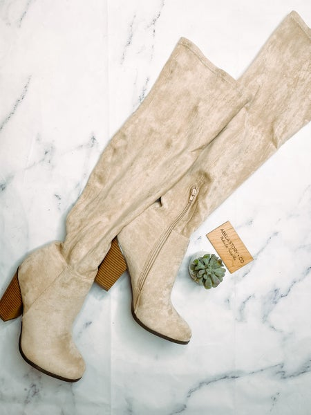 Max Suede Knee High Boots- Nude