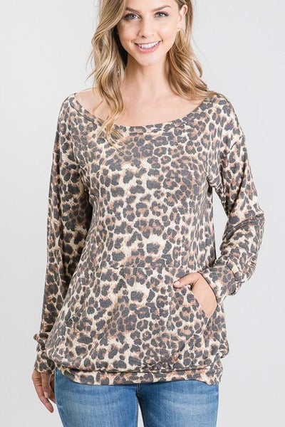 Off The Shoulder Leopard Longsleeve