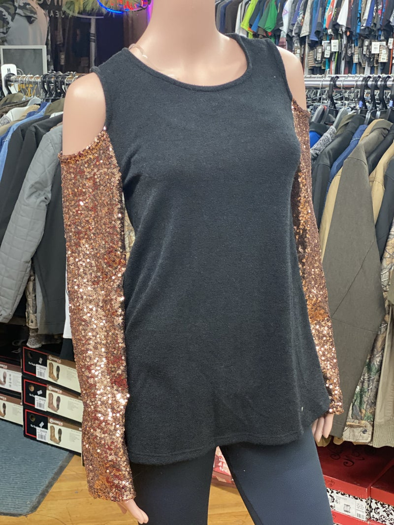 Small Sequin Bell Sleeve Sweater