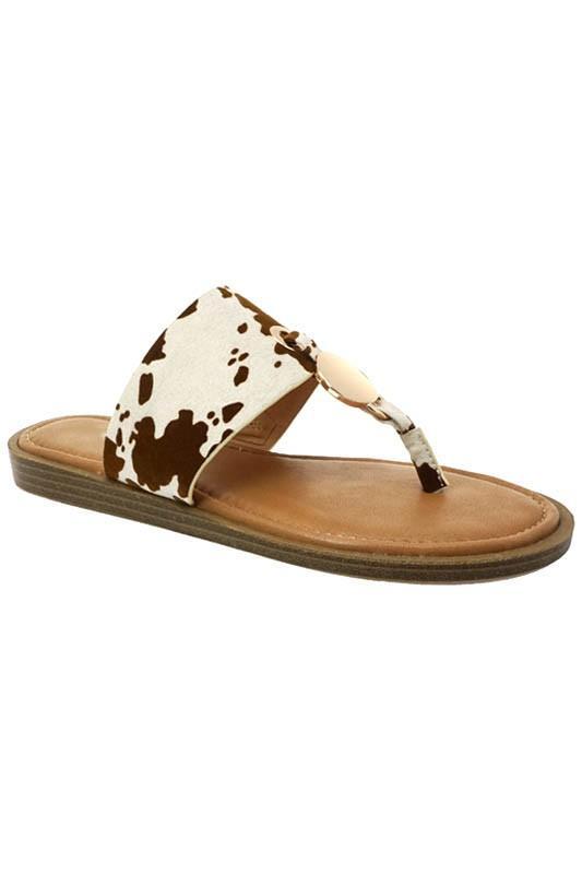 Beige Cow Flip Flops